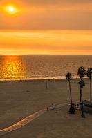 sunset at santa monica beach and pier