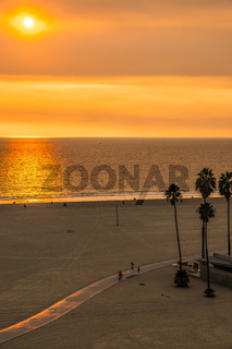 sunset at santa monica beach and pier