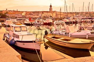 Town of Krk golden dawn harbor view