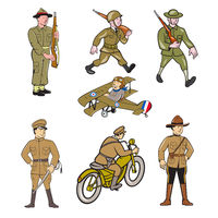 World War One Soldier Cartoon Set