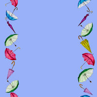 Card with colorful umbrellas and space for text.