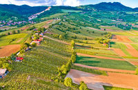 Kalnik mountain and Obreske kleti village aerial view