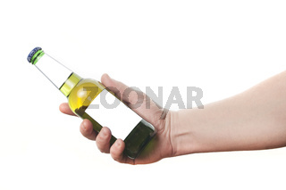 Man holding a beer (or cider) bottle with blank labels for mockup on white background