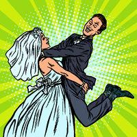 wedding. happy loving bride and groom. woman carries man