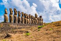 The famous fifteen Moai at Ahu Tongariki on Rapa Nui or Easter Island