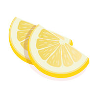 Two ripe slices of yellow lemon citrus fruit stand isolated on white background. Lemon citrus fruit, vector flat illustration.
