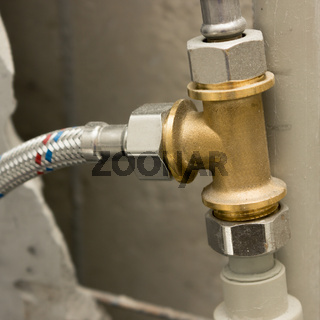 Brass fitting in water supply system