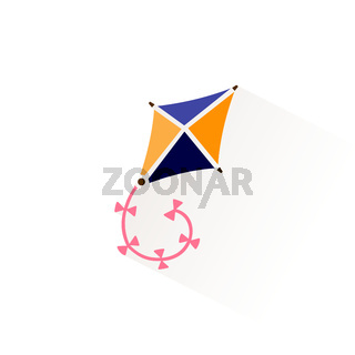 Kite icon with shadow. Flat vector illustration