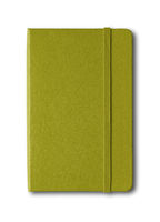 Olive green closed notebook isolated on white