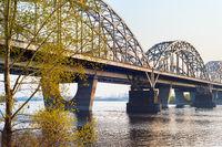 Railway bridge Dnipro river Kiev