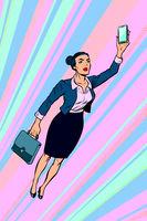woman businesswoman, superhero flying
