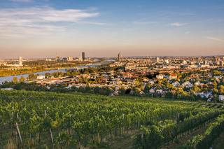 View from vineyards over Nussdorf and Danube with VIC in the background