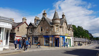 Street with Victorian style house in Pitlochry in Scotland