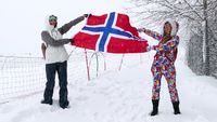 Flag of Norway waving in the wind.