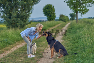 Smiling woman stroking her dog in countryside road