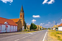 Street view of Karanac church and historic architecture