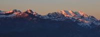 High mountains in the Bernese Oberland at sunrise. Bluemlisalp Range. View from Mount Niederhorn, Be