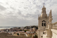 Monastery São Vicente de Fora with view of the old town, Lisbon, Portugal