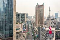 TaiShengNanLu street aerial view in Chengdu, China