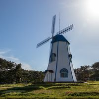 Ganjeolgot Windmill near Cape on sunny day. Easternmost Point of Peninsula in Ulsan, South Korea. Asia