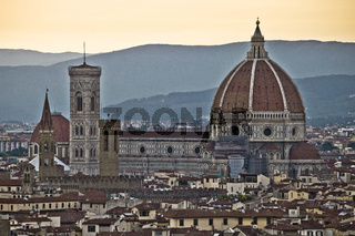 Florence rooftops and cathedral di Santa Maria del Fiore or Duomo view