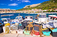 Baska. View of fishermen village of Baska from breakwater harbor