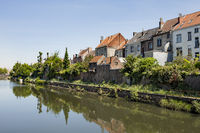 Ghent, Belgium - June 1, 2017: A row of houses along the Visserijvaart, one of the many canals in beautiful Ghent