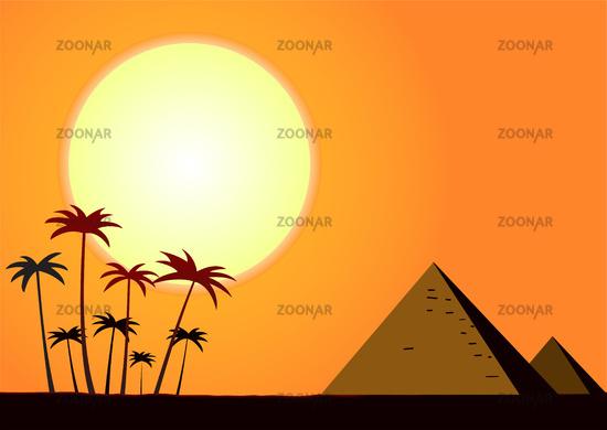 Summer sunset with pyramids