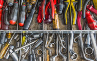 old, used tools in a toolbox