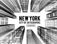New York is a city of skyscrapers. Vector illustration in the drawing style on a white. View of the skyscrapers below