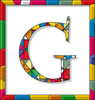 Letter G in stained glass
