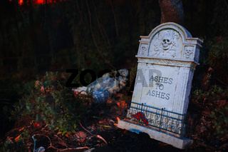 Ashes to Ashes Gravestone Halloween Scary Decoration Death Grave Tombstone