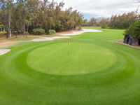 Golf course hole green and sand traps.