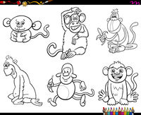 set of monkeys animal characters coloring book