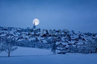 Holzbronn Germany winter scenery by night
