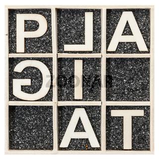 Word PLAGIAT unusual spelling square