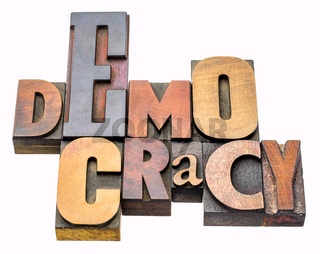 democracy word abstract in wood type