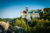 HRUBA SKALA, CZECH REPUBLIC - SEPTEMBER 18, 2012: Hruba Skala Castle on a clear beautiful day