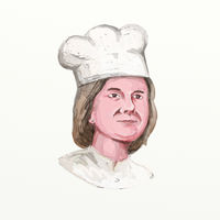 Female Chef Watercolor Painting