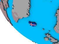 Iceland with flag on 3D globe