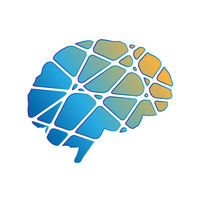 Creative side of human brain, abstract silhouette in trendy colours