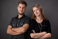 Portrait of a couple of young business people and partners