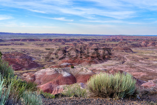 Bright red and orange formations in the Painted Desert region of Petrified Forest National Park