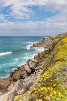 Rocky coastline between Praia das Maçãs and Azenhas do Mar, Portugal, Europe
