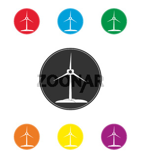 Set of colored wind turbine icons. Renewable energy, flat design