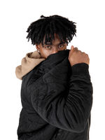 Black man hiding behind his jacket
