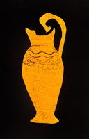 ancient jar cut out from yellow paper on black