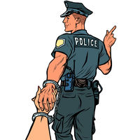 follow me police officer arrested woman. isolate on white background