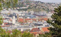 Town Stuttgart, view to the city centre, Germany
