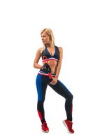 Slim girl doing fitness isolated view